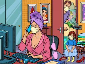 Kuvituskuva, jossa äiti tekee töitä tietokoneella maski kasvoillaan, isä ja lapset kurkkaavat ovenraosta.