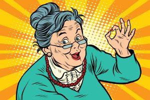 Kuvituskuva, jossa iloinen, iäkäs nainen näyttää OK-merkkiä.