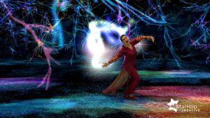 Kuvituskuva, jossa tanssija esiintyy viertuaalilavasteissa.